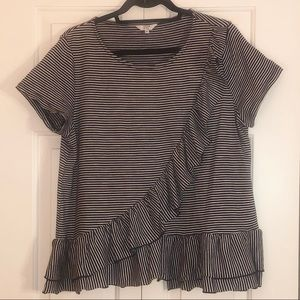 Navy and white, size L ruffled top
